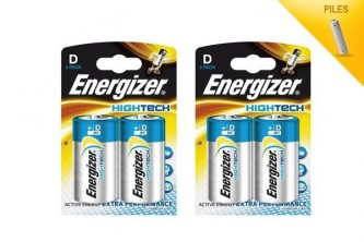 Energizer piles Hightech lot de 4 piles LR20-1.5V