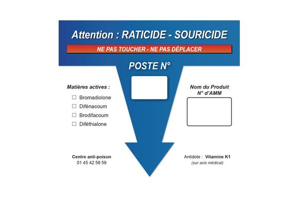 Etiquettes de signalisation pour postes à rats en lot de 100