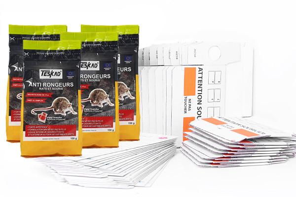 Pack anti souris avec plaques de glu, postes d'appatages et pate souricide