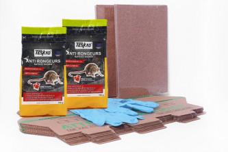Pack anti rats avec plaques de glu, postes d'appatages et pate raticide